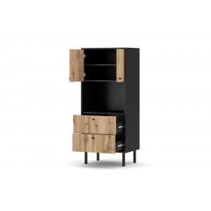 Ensemble de salon style industriel SPEBO coloris noir mat et chêne.