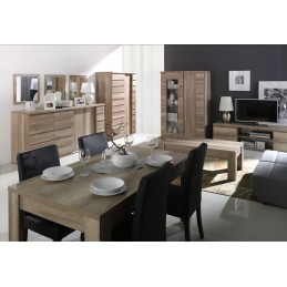 Ensemble ROMI pour salon coloris chêne dab canyon. Vitrine, meuble tv, table basse.