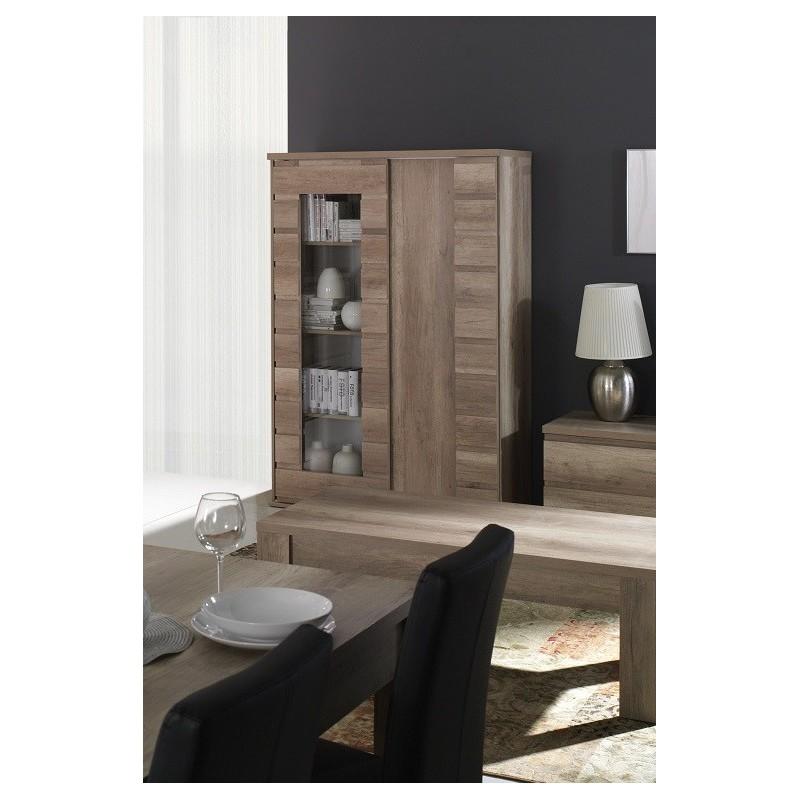 Salle manger vitrine vaisselier romi 2 portes coulissantes colori - Porte coulissante salle a manger ...