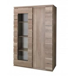 Vitrine vaisselier ROMI 2 portes coulissantes coloris dab canyon. Meuble design idéal pour votre salle a manger