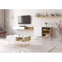 Ensemble de salon style scandinave RULIA coloris blanc mat et chêne.