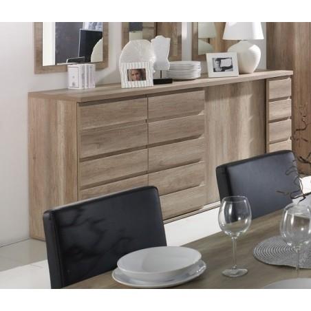Buffet, bahut ROMI 3 portes coulissantes coloris chêne dab canyon. Meuble design idéal pour votre salle à manger