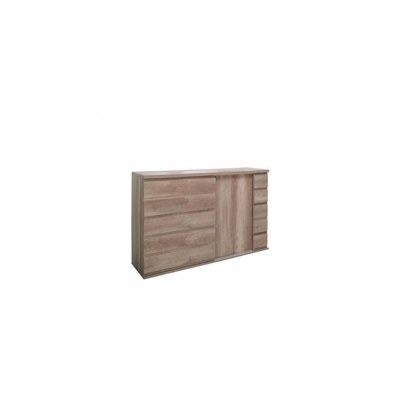 Buffet, bahut RIMO 2 portes coulissantes coloris chêne dab canyon. Meuble design idéal pour votre salle à manger