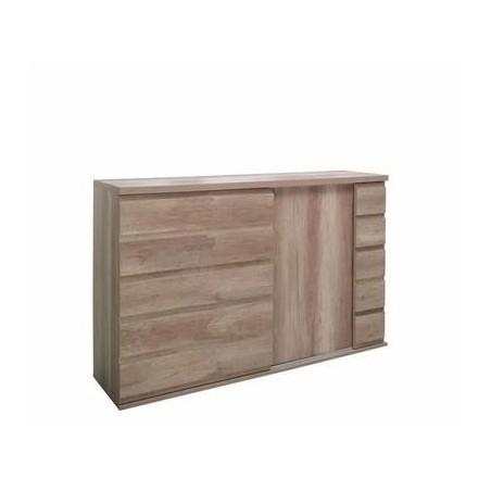 Buffet, bahut ROMI 2 portes coulissantes coloris chêne dab canyon. Meuble design idéal pour votre salle à manger