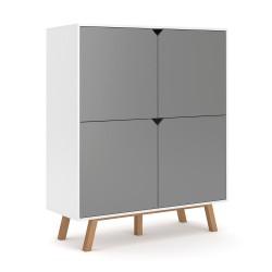 Buffet design type scandinave collection AOMORI 4 portes, coloris blanc et gris mat