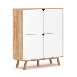 Buffet design type scandinave collection AOMORI 4 portes, coloris hêtre et blanc mat