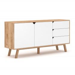 Buffet bas type scandinave collection AOMORI 2 portes et 3 tiroirs, coloris hêtre et blanc mat