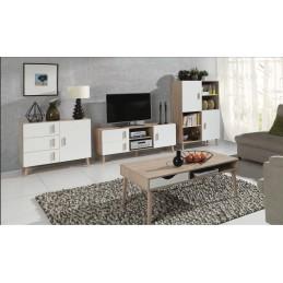 Ensemble design pour votre salon OSLO. Bibliothèque + Meuble tv + table basse + petit buffet. Meuble type scandinave