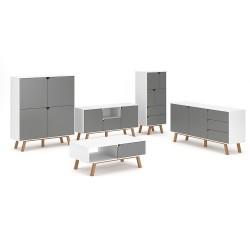 Ensemble de salon 5 meubles style scandinave AOMORI coloris blanc et gris mat.