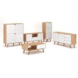 Ensemble de salon 5 meubles style scandinave AOMORI coloris blanc mat et chêne.