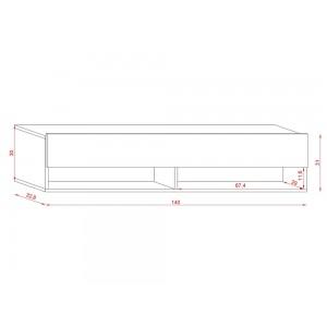 Meuble TV suspendu design CLUJ, 140 cm, 1 porte et 2 niches, coloris chêne wotan.