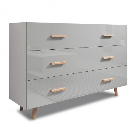 Commode, buffet design EDEN IV, 4 tiroirs, coloris blanc et gris. Type scandinave