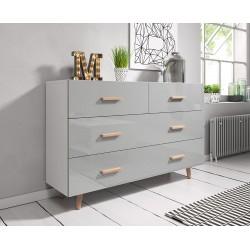 Commode, buffet design EDEN IV, 4 tiroirs, coloris blanc mat et gris brillant. Type scandinave