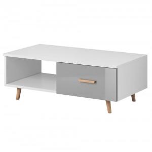 Table basse EDEN 110 cm avec 1 tiroir et 1 niche, coloris blanc et gris.