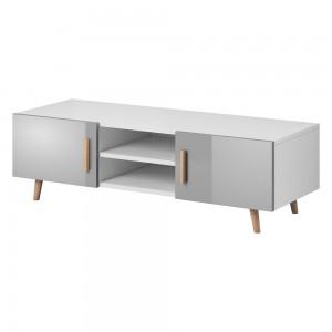 Meuble TV design EDEN II 140 cm, 2 portes et 2 niches, coloris blanc et gris. Type scandinave.