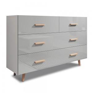 Ensemble EDEN pour votre salon. Meuble TV + table basse + commode. Coloris blanc et gris.