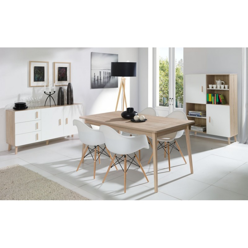 Ensemble Design OSLO. Buffet Moyen Modèle + Table Eextensible 160 + Vitrine  / Vaisselier Meuble