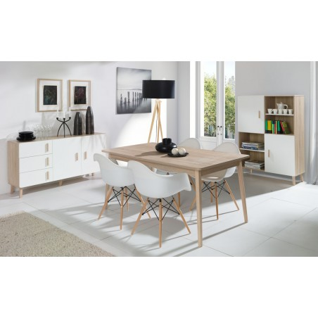 Ensemble design OSLO. Buffet moyen modèle + table extensible 160 + vitrine / vaisselier Meuble type scandinave