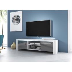 Meuble TV design MANHATTAN 140 cm à 2 portes et 2 niches coloris blanc et gris + LED