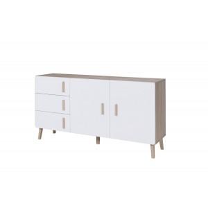 Ensemble design OSLO. Buffet moyen modèle + table eextensible 160 + vitrine / vaisselier Meuble type scandinave