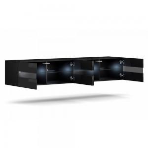 Meuble TV à suspendre ERIKA 200 cm, 4 portes, coloris noir + LED
