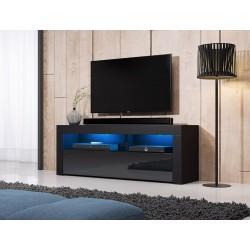 Meuble TV design MEXICO 140 cm, 1 porte et 1 niche, coloris noir + LED