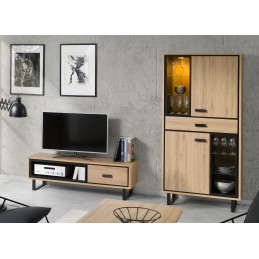 Meuble TV + vitrine / vaisselier SOLO, idéal pour votre salon.
