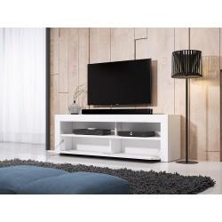 Meuble TV design MEXICO 160 cm, 1 porte et 1 niche, coloris blanc mat et blanc birllant