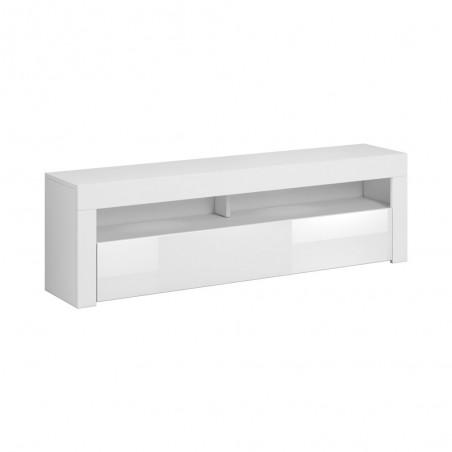 Meuble TV design MEXICO 160 cm, 1 porte et 1 niche, coloris blanc mat et blanc brillant