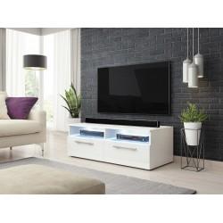 Meuble TV design BONNIE 100 cm, 2 portes et 2 niches, coloris blanc + LED.