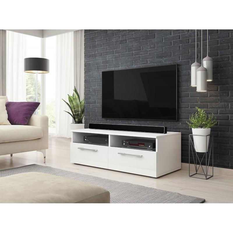Meuble TV design BONNIE 100 cm, 2 portes et 2 niches, coloris blanc mat et blanc brillant