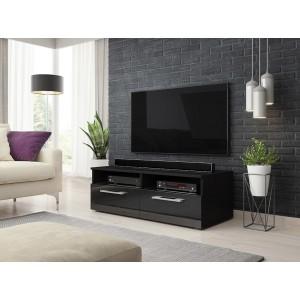Meuble TV design BONNIE 100 cm, 2 portes et 2 niches, coloris noir mat et noir brillant