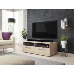 Meuble TV design BONNIE 100 cm, 2 portes et 2 niches, coloris chêne.