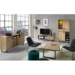 Meuble tv + 1 vitrine + buffet + table basse SOLO. Ensemble de meubles design et moderne, idéal pour votre salon