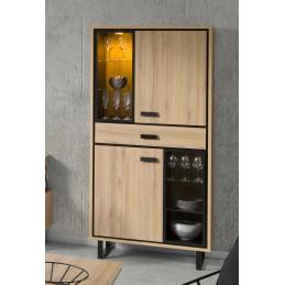 Vitrine, argentier, vaisselier SOLO 2 portes, 1 tiroirs + LED. Idéal pour votre salon ou votre salle à manger