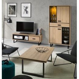 Meuble tv + 1 vitrine + table basse SOLO. Ensemble de meubles design et moderne, idéal pour meubler votre salon
