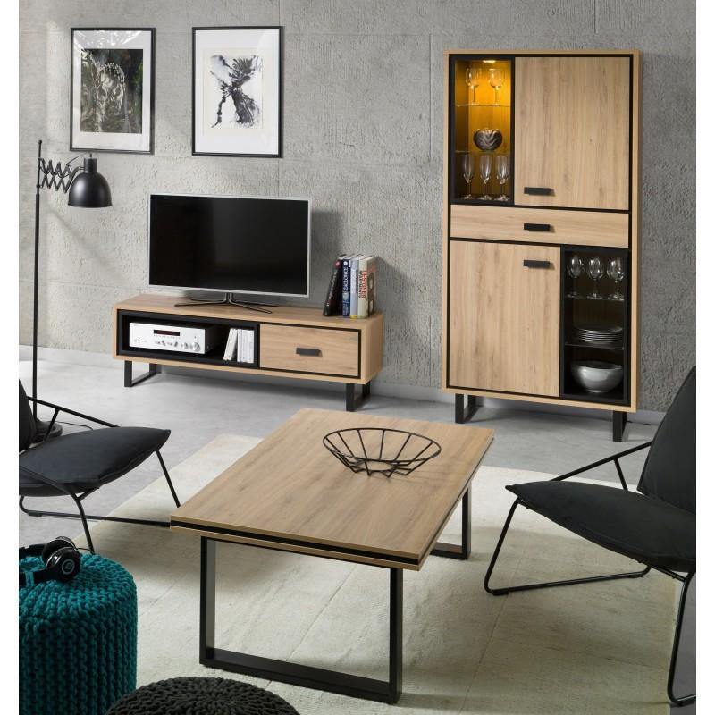 salon meuble tv 1 vitrine table basse solo ensemble. Black Bedroom Furniture Sets. Home Design Ideas