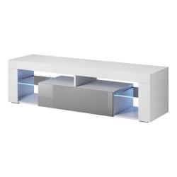 Meuble TV design MONTBLANC 140 cm, 1 porte et 2 niches, coloris blanc et gris + LED.