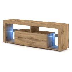 Meuble TV design MONTBLANC 140 cm, 1 porte et 2 niches, coloris chêne Wotan + LED.