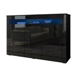 Buffet design SOFIANE 130 cm, 3 portes et 1 niche éclairage LED, coloris noir