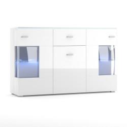 Buffet design KIELS 150 cm, 3 portes et 1 tiroir, coloris blanc brillant + éclairage LED.