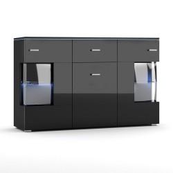 Buffet design KIELS 150 cm, 3 portes et 1 tiroir, coloris noir brillant + éclairage LED.