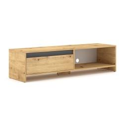 Meuble TV design LISSE 140 cm, 1 porte et 1 niche, coloris chêne clair.
