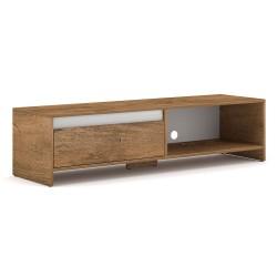 Meuble TV design LISSE 140 cm, 1 porte et 1 niche, coloris chêne foncé.