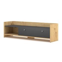 Meuble TV design HOUSTON 140 cm, 1 porte et 1 niche, coloris chêne clair et gris.