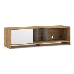 Meuble TV design NARVA 140 cm, 1porte, coloris chêne et blanc