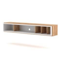 Meuble TV design suspendu DEVA 150 cm coloris chêne et blanc