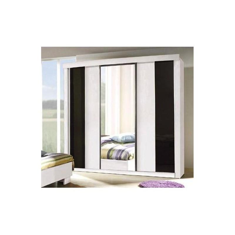 Armoire, garde robe DUBLIN trois portes coulissantes. Coloris noir et blanc laqué. Meuble pour chambre à coucher. Miroir inclus