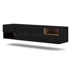 Meuble TV design suspendu NOAH 140 cm. 2 portes et 2 tiroirs. Coloris noir et chêne