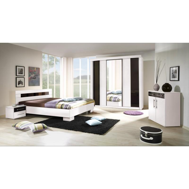 Chambre à Coucher Complète DUBLIN Adulte Design Blanche. Lit 160x200 Cm +  Armoire + Commode